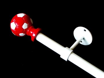 1.2 - 2m Extendable Eyelet Ceiling Curtain Pole with RED FOOTBALL Finials